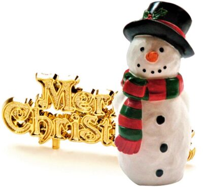 Christmas Cake Topper - Snowman and Motto  BX113/220