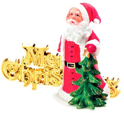 Santa and Motto Luxury Cake Topper  BX221