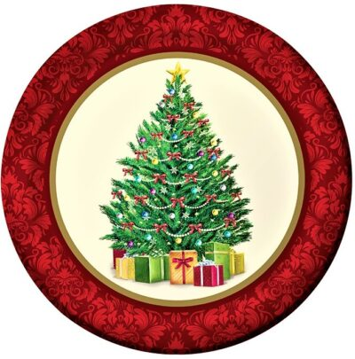Christmas Tree with Red Rim Dinner Plate (pack of 8)  PC317142