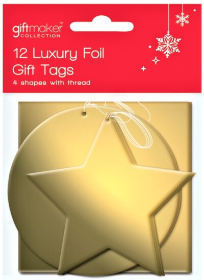Foil Gift Tags (pack of 12) Assorted Shapes - Gold  TTGD