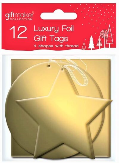 Foil Gift Tags (pack of 12) - Gold   XTNGOL