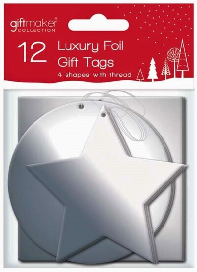 Foil Gift Tags (pack of 12) - Silver  XTNSIL