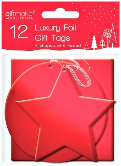 Foil Gift Tags (pack of 12) - Red  XTNRED