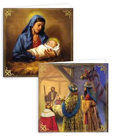 Religious Square Christmas Cards - Pack of 10  0261219