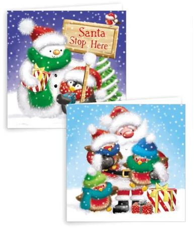 Fluffy Santa & Friends Square Christmas Cards - Pack of 10 0261224
