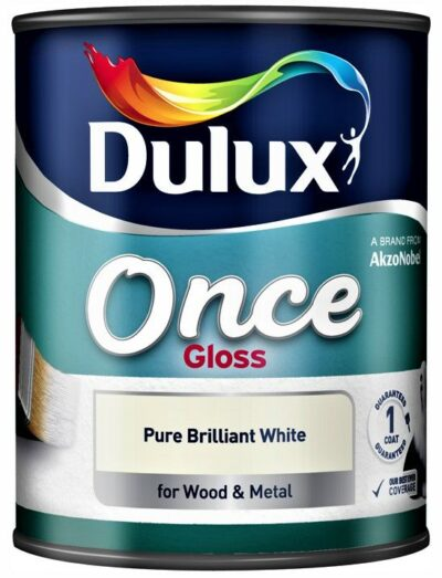 Dulux 750ml Once Gloss Paint - Pure Brilliant White 1508916