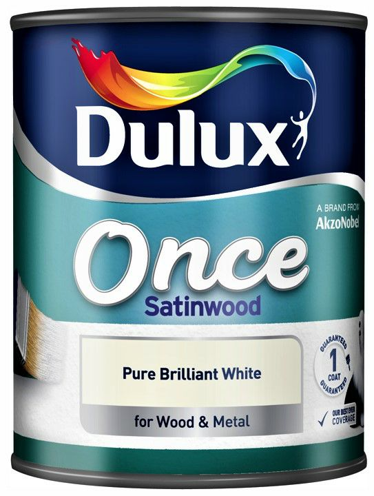 Dulux 750ml Once Satinwood Paint - Pure Brilliant White 1508937
