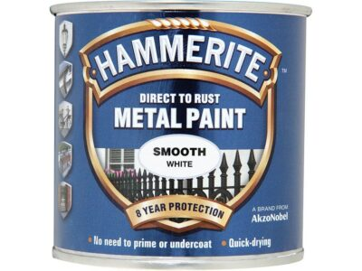 Hammerite 250ml Direct to Rust Metal Paint - Smooth White HMMSFW250 (2460226)