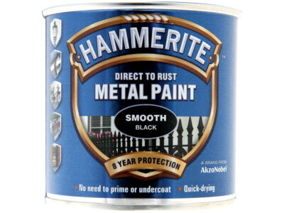 Hammerite 250ml Direct to Rust Metal Paint - Smooth Black HMMSFBL250 (2460273)