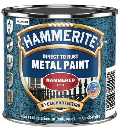 Hammerite 250ml Direct to Rust Metal Paint - Hammered Red HMMHFR250 (2461523)