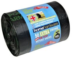 Home Hardware Green Extra Strong Tie Refuse Bags x50  2573572