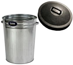 Home Hardware Galvanised Tapered Bin with Rubber Lid  2577320