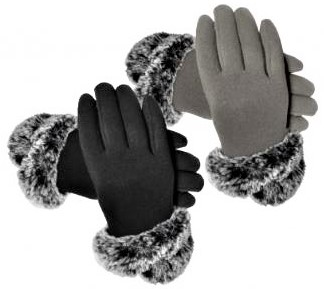 Ladies Fur Cuff Touch Screen Gloves - Grey or Black  AG322