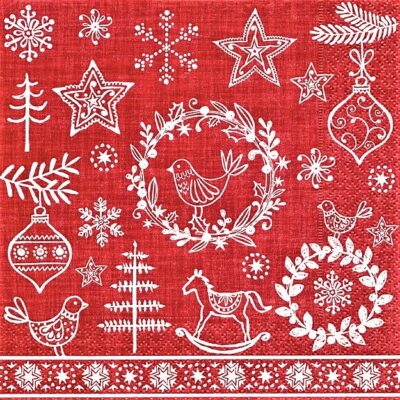Napkins (pack of 20) Red with Hygge Symbols PD600327