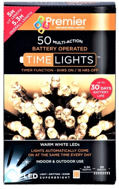 Premier Battery Operated MultiAction 50 LED Time Lights - White LB112382W