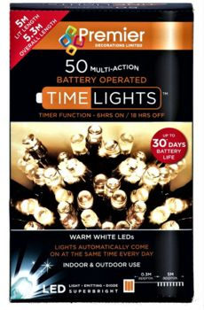 Premier Battery Operated MultiAction 50 LED Lights - Warm White  LB112382WW
