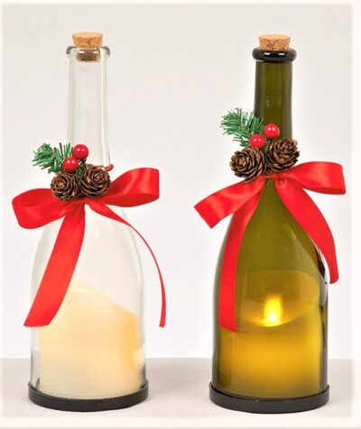 Glass Bottle with Dancing Flame Candle LB151417