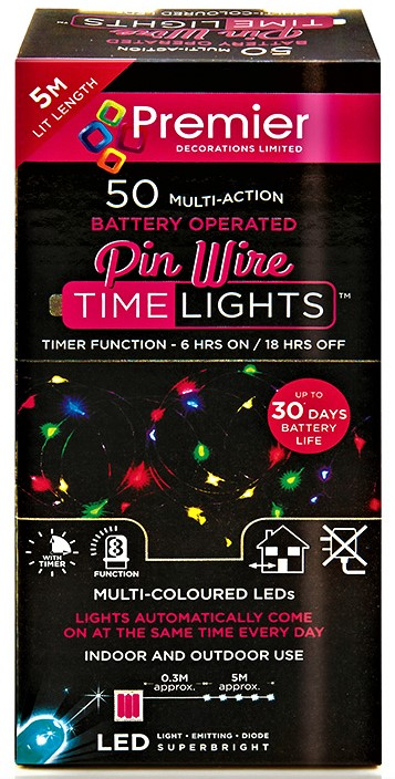 Premier Battery Operated MultiAction PinWire 50 LED Time Lights - MultiColoured  LB151209M (5186414)