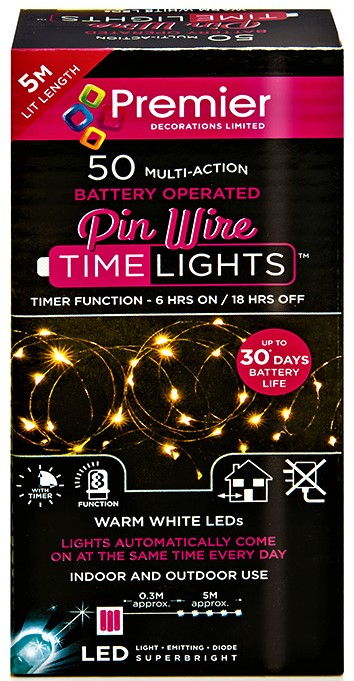 Premier Battery Operated MultiAction PinWire 50 LED Time Lights - Warm White LB151209WW