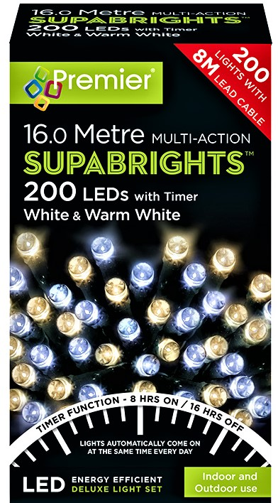 Premier MultiAction SupaBrights 200 LED Lights - White and Warm White  LV162170WWW