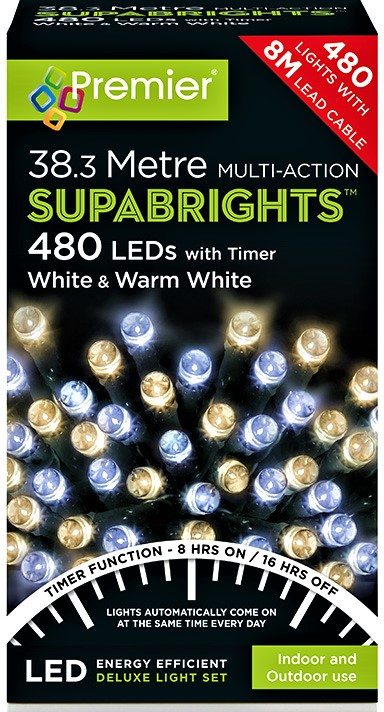 Premier MultiAction SupaBrights 480 LED Lights - White and Warm White  LV162172WWW