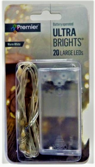 Premier Battery Operated Ultra Brights Indoor 20 LED Pin Wire Lights - Warm White LB191279WW