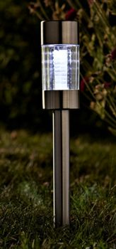 Solar Powered Stainless Steel Flare Stake Lights x5   1010941