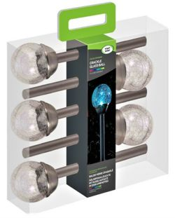 Solar Powered Stainless Steel Crackle Globe Lights x5  1001031