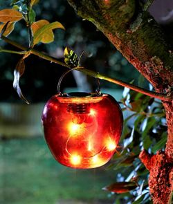 Solar Powered Funky Hanging Apple - Light Red  1080957