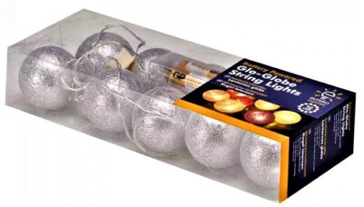 6cm Glowing Globes - Silver 3122072