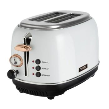 Tower 2 Slice Toaster - White T20016W