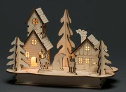 Wooden Silhouette House & Animals Decoration 3612120