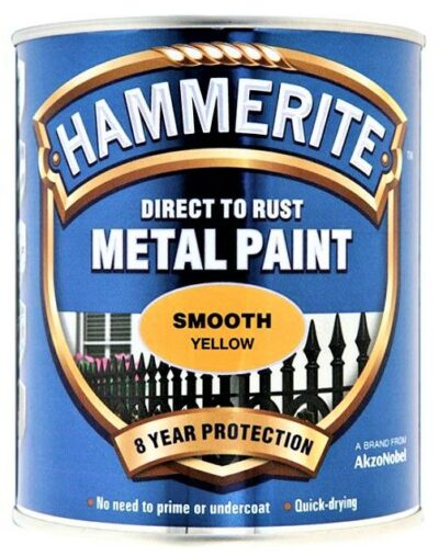 Hammerite 750ml Direct to Rust Metal Paint - Smooth Yellow HMMSFY750