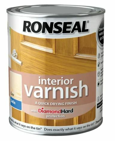 Ronseal 750ml Interior Varnish Quick Dry Satin - Clear  RSLIVSCL750