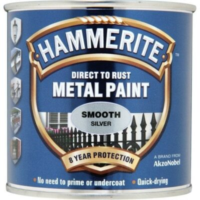 Hammerite 250ml Direct to Rust Metal Paint - Smooth Silver HMMSFSI250 (2461701)