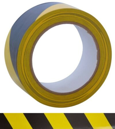 Black and Yellow 50mm x 33m Hazard Tape 4335-BY