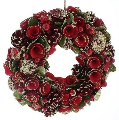 Festive Red Rose and Gold Berry Wreath P034458 (2111058)